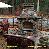 DIY Outdoor Fireplace with river rock veneer