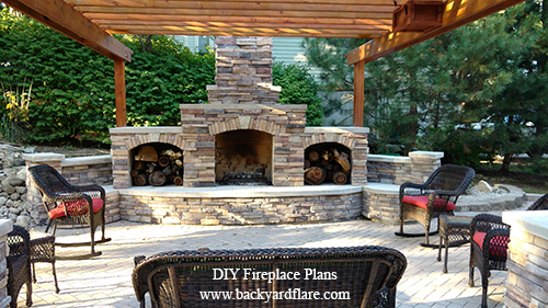 Outdoor Fireplace with storage under pergola