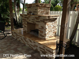 Outdoor Fireplace under pergola